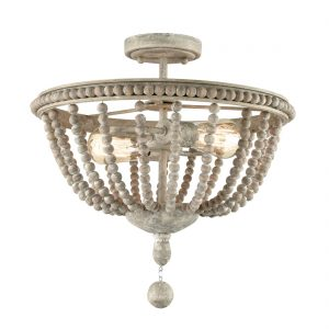 Farmhouse Wood Beaded Semi Flush Mount Ceiling Lights Grey
