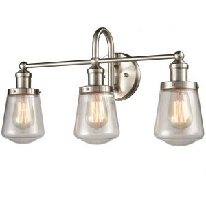Industrial Bathroom Vanity Wall Light 3-Light Sconces Brushed Nickel