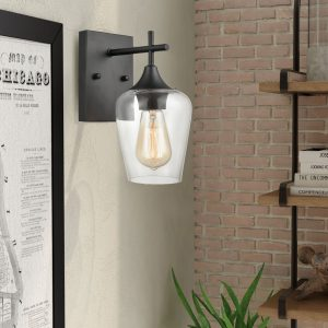 Industrial Clear Glass Wall Sconces Matte Black Bathroom Lights 2-Pack