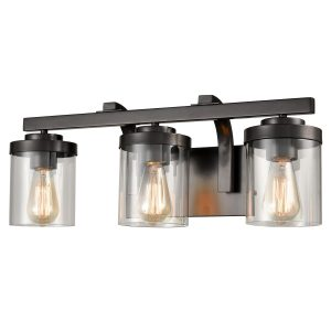 Industrial Glass Bathroom Vanity Light Bronze Sconce 3-Light