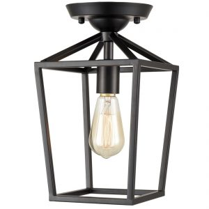 Industrial Metal Cage Semi Flush Mount Ceiling Light Black