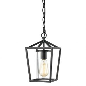 Industrial Pendant Light Black Finish with Clear Glass Adjustable Chain