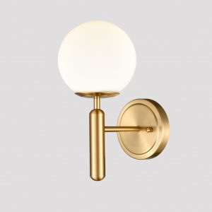 Mid-Century Modern Wall Light with Opal Globe Shade Brass Finish
