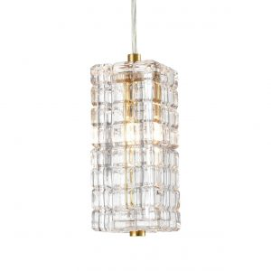 Modern Brass Glass Pendant Lights Crystal Glass Shade