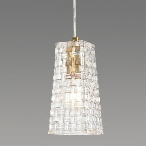 Modern Brass Glass Pendant Lights Woven-Like Glass Shade