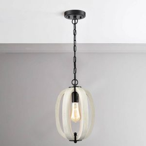 Rustic Wood Pendant Light Distressing Off wClear Glass Adjustable Chain