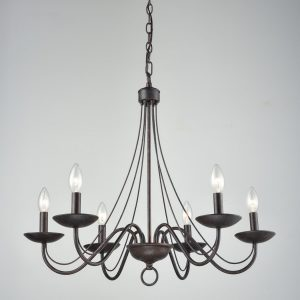 Vintage Chandelier Black Candle Chandelier for Dining 6 Light