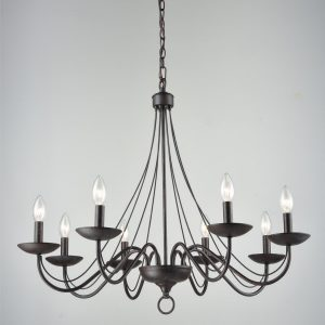 Vintage Chandelier Black Candle Chandelier for Dining 8 Light