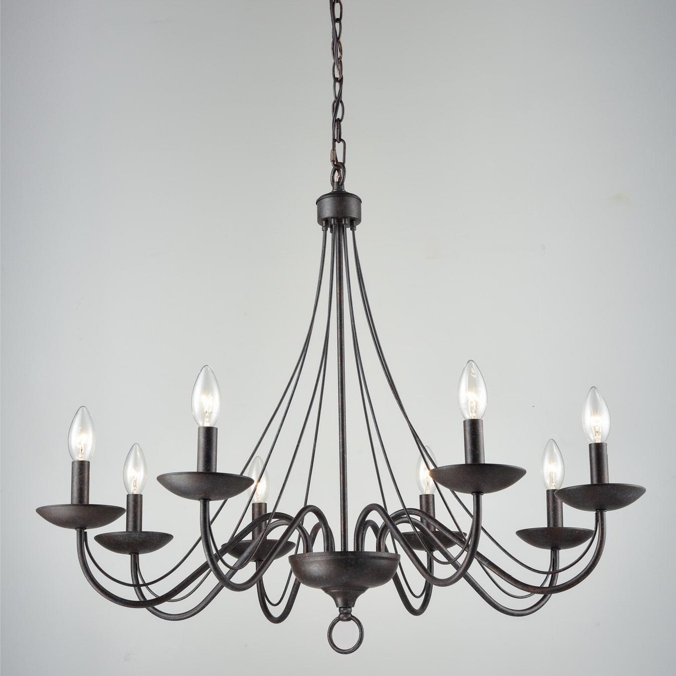 Vintage Chandelier Black Candle Chandelier for Dining 8 Light