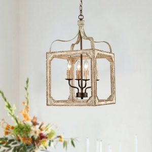 Boho Distressing Wooden Lantern Cage Candle Chandelier 4 Lights