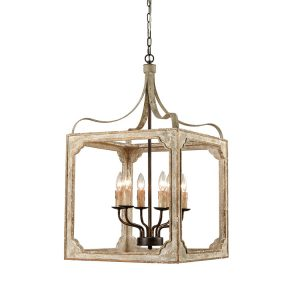 Boho Distressing Wooden Lantern Cage Candle Chandelier 6 Lights