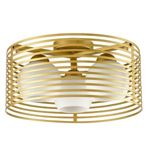 Brass Drum Modern Ceiling Lights with Opal Shades, 3-Light