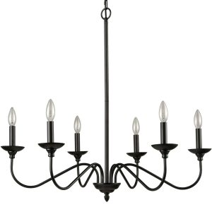 Farmhouse Chandelier Black Candle Chandelier, 6-Light