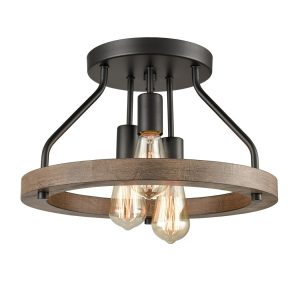 Farmhouse Flush Mount Ceiling Light Wood Grain with 3 Lights