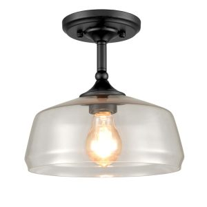 Farmhouse Semi Flush Ceiling Lights Schoolhouse Glass, Black