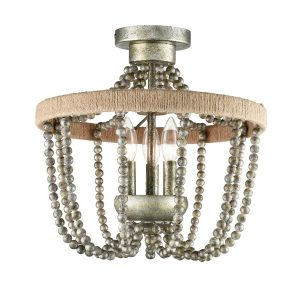 Farmhouse Wood Bead Semi Flush Mounting Ceiling Light Silver