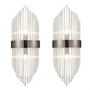 Mid-Century Elegant Glass Rod Wall Sconces Lighting Set of 2