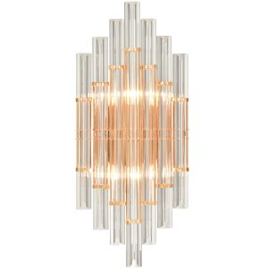 Modern Gold Brass Crystal Wall Sconce Lighting Fixture