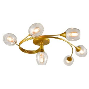 Modern Semi Flush Ceiling Lights Dimpled Glass Shades, 6-Light