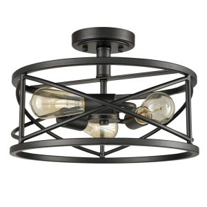 Rustic Semi Flush Ceiling Lights Black Drum Shade, 3-Light