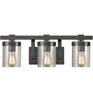 Rustic Wall Sconces Bathroom Wall Sconces, 3-Light, Bronze