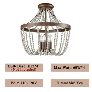 Rustic Wood and Crystal Bead Semi Flush Mounting Ceiling Light