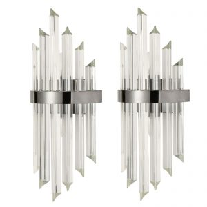 2-Pack Modern Wall Sconces Glass Rod Vanity Light Titanium Black Finish
