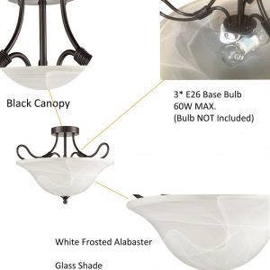 3-Light Transitional Ceiling Light ORB with White Frosted Alabaster Glass