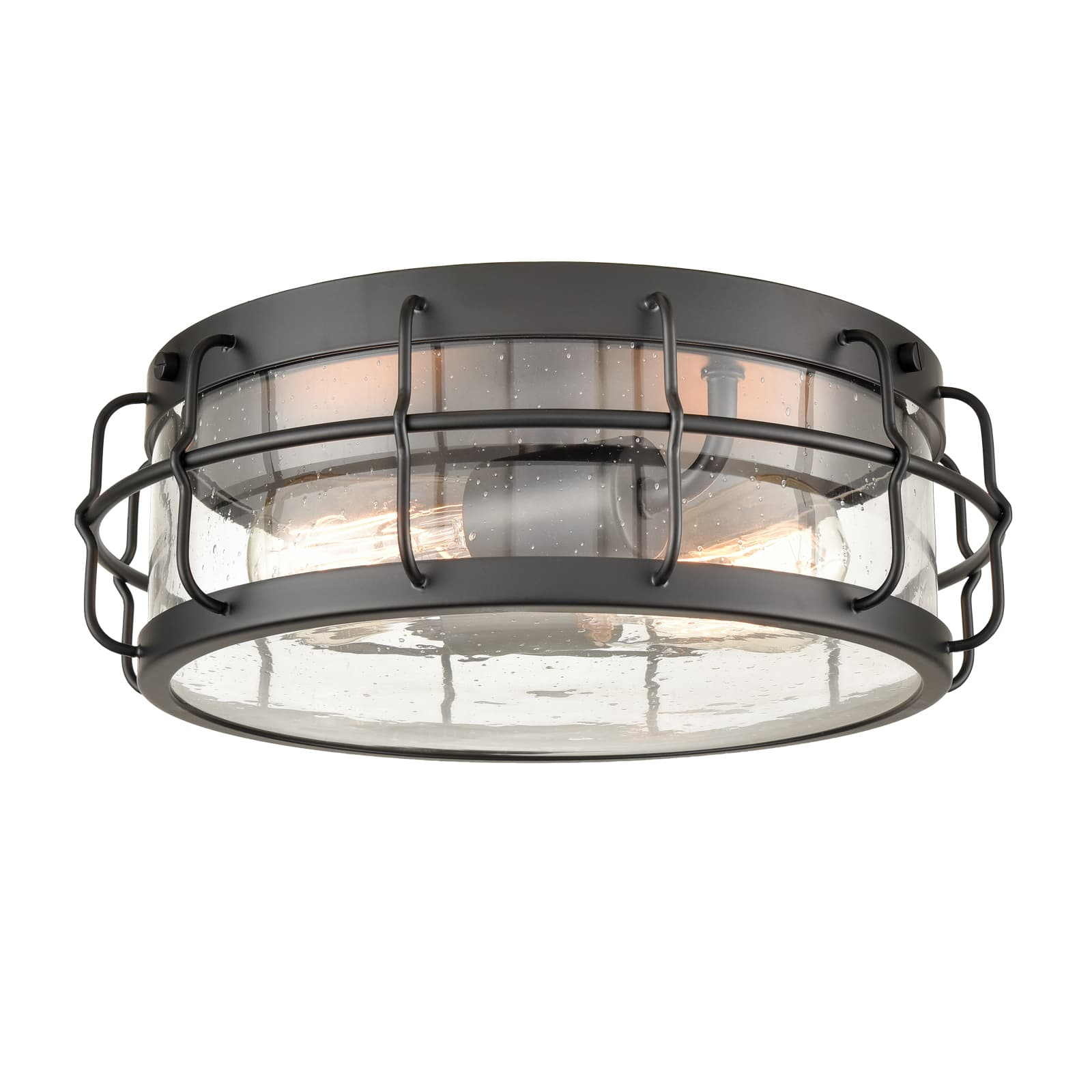 Black Round Ceiling Light Flush Mount with Clear Seedy Glass Shade