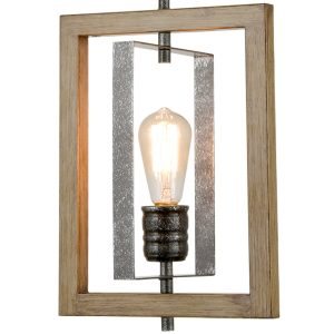 Farmhouse Pendant Light in Wood Grain Metal Rectangular Frame