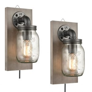 Farmhouse Plug-in Mason Jar Bedroom Wall Sconce Wood Plate 2-Pack