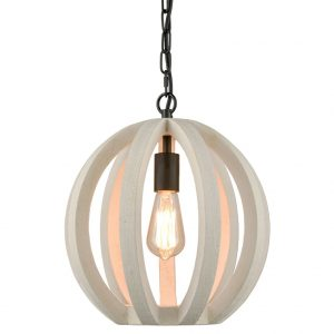 Farmhouse Wooden Pendant Light Globe Hanging Fixture Distressing Off