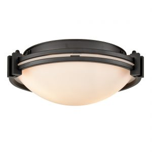 Industrial Glass Ceiling Light Flush Mount Fixture 2-Light