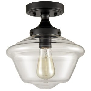 Industrial Glass Ceiling Light Semi Flush Mount Clear Glass Shade
