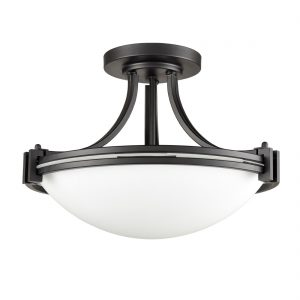 Industrial Glass Semi Flush Mount Ceiling Light Fixture 3-Light