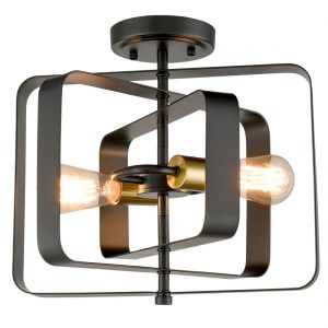 Industrial Metal Ceiling Light 2-Light Black Rectangular Shade