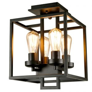 Industrial Semi-Flush Mount Ceiling Light 4-Light Black Metal Lighting