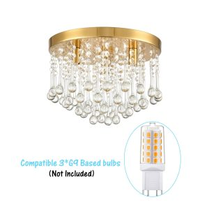 Modern Brass Crystal Ceiling Light 3-Light Flush Mount Light Fixture