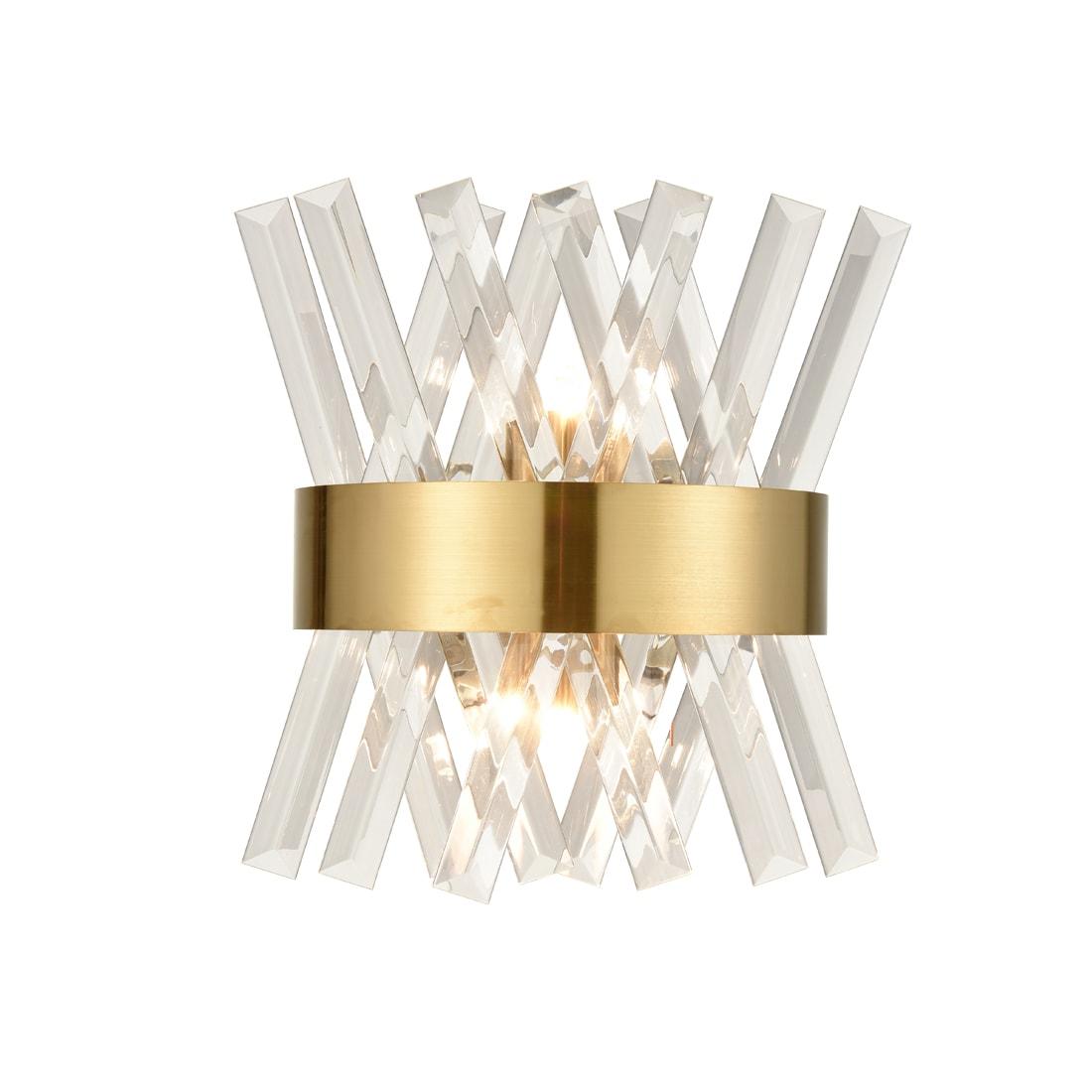 Modern Brass Crystal Wall Sconce Lighting Fixture 2-Light