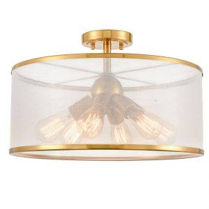 Modern Gold Drum Ceiling Light Organza Lamp Shade 6-Light