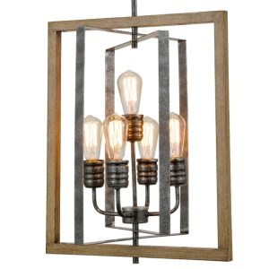 Rustic 5-Light Kitchen Island Chandelier in Wood Grain Finish