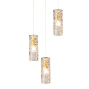 3 Light Brass Glass Pendant Light Modern Cluster Chandelier