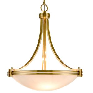 3-Light Brass Pendant Light Elegant White Shade Glass