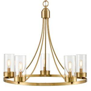 5-Light Brass Pendant Light Industrial Chandelier Glass Shade