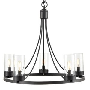 5-Light Industrial Chandelier Vintage Black Pendant Light