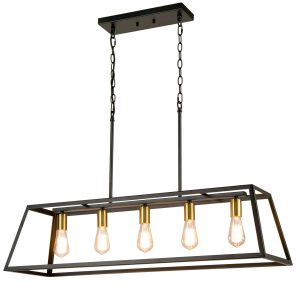 5-Light Kitchen Island Pendant Lighting Industrial Island Chandelier