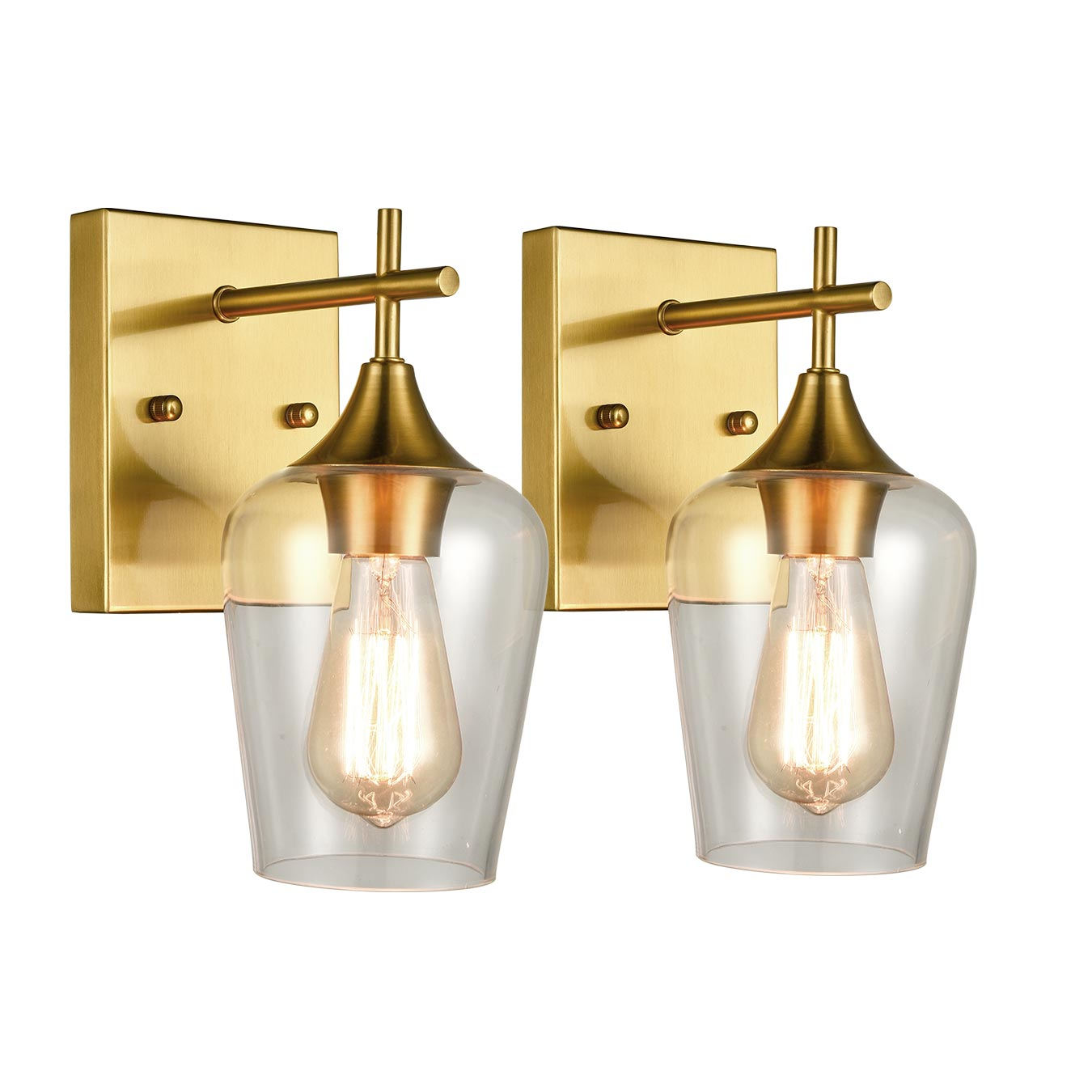 Brass 2 Pack Clear Glass Wall Sconces Industrial Bathroom Vanity Lighting