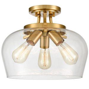 Brass 3-Light Ceiling Light Semi Flush Mount Clear Glass Shade