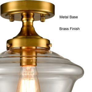 Brass Glass Ceiling Light Semi Flush Mount Clear Glass 1-Light Shade