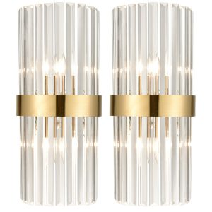 Brass Glass Wall Sconces Titanium Gloden Wall Mount Lamp